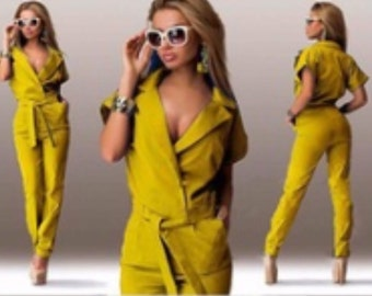 Yellow all in one trouser suit with peg style trouser