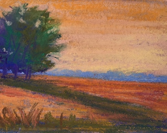 Original Impressionist Pastel Painting of an Autumn Field at Dusk