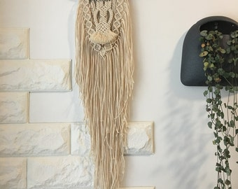 Driftwood with cotton rope macrame wall hanging