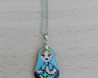Russian doll pendant necklace and wood