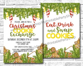 """Christmas Cookie Exchange Party Invitation, PRINTABLE 5"""" x 7"""" Watercolor Christmas Cookie Swap Holiday Party Invite, Eat Drink Swap Cookies"""