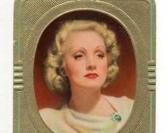 Vintage Marlene Dietrich 1936 Garbaty Passion Film Star Embossed Cigarette Card #134