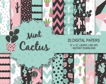 Cactus digital paper, mint cactus digital, pink cactus, succulent pattern, cactus pattern, cactus flower pattern, cactus background