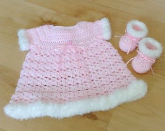 Baby Girl Dress, Baby Shoes, Handmade Baby Clothes, Baby Booties, Crochet Baby Clothes, Baby Girl Gifts, Gift for Baby
