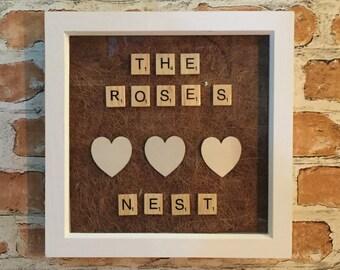 Family Nest Shabby Chic Scrabble Frame