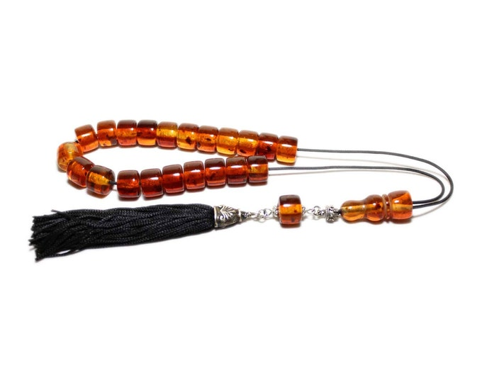 Worry Beads, Greek Komboloi, Honey Amber color, Tube shape beads, Handmade black Tassel, Relaxation. Meditation