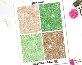 Pistachio Glitter Header Stickers/Planner Stickers for Erin Condren Lifeplanner/Happy Planner Stickers/Glitter Header/Glitter
