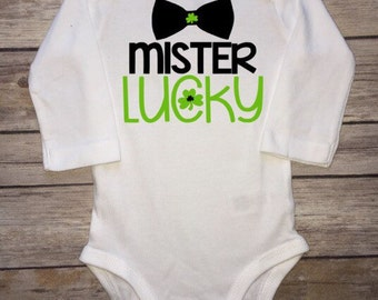 Mister lucky, St Pattys day bodysuit, St Pattys Day Shirt, st patricks day baby, st Patricks day Boy, St Patricks day bodysuit, Baby Shower