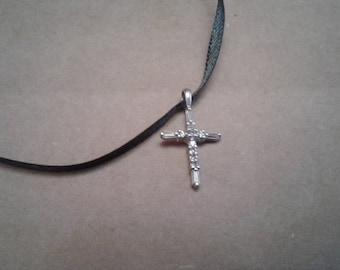 Sterling and Cubic Zirconia Cross Pendant