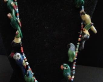 Vintage Souvenir Tropical Parrot Necklace