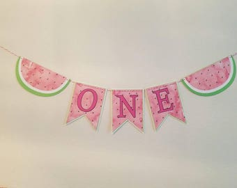 Watermelon birthday banner. Watermelon first birthday banner. Watermelon party decorations. One in a melon decor