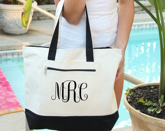 Monogram  Bag, Heavy tote bag  zippered main compartment,  Heavy canvas, Carryall, Monogram tote, Personalized Monogram Bag