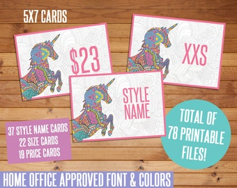 SALE! LLR Printable Cards, All LLR Clothing Style Cards, Size Cards, Price Cards, Unicorn, Marketing Kit, Business Item, Clothing Cards, llr
