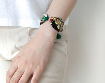 silk scarf bracelet, green, gold and black color