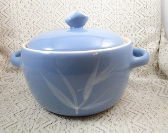 Winfield Pot, Two Handled, Lidded, California China, Blue Pacific, Blue China Serving Dish
