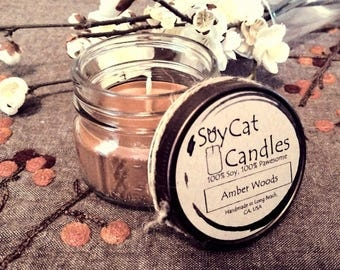 SoyCat Candles 4 oz Amber Woods (Amber, Wood & Musk scented/100% Soy Wax/Homemade/Rustic Style)