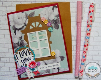 Mother's Day Card   Window & flowers Card   Gift for Mom   Roses Card   You're the BEST!