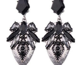 Black & Silver Art Deco Drop Earrings EA6060n