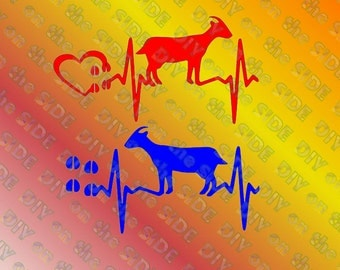 SVG Cut File Goat Love Heart Beat Instant Download