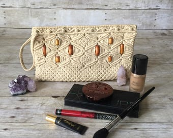 Vintage Macrame Clutch Purse or Makeup Bag with Wood Beads
