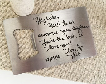 Personalized Wallet Card Bottle Opener - Custom Handwriting Bottle Opener - Gift for Groom, Husband, Boyfriend, Friend, Brother, Sister, Dad