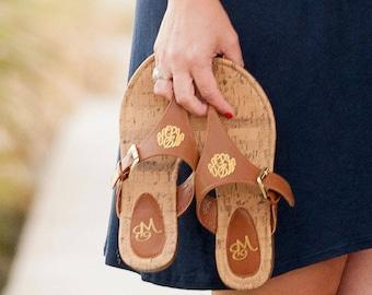 Monogrammed Sandals, Personalized Flip Flops, Natalie Sandal, Women's Leather Sandal, Monogram Sandals, Summer Shoes, Strappy Sandals