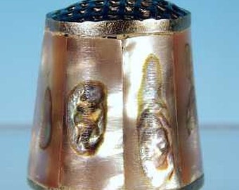 Vintage Mexican Alpaca Silver & Pink and Blue Abalone Inlay Thimble Collectible