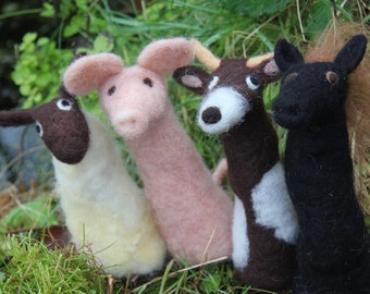 needle felted farm animal finger puppets - pig, horse, cow and sheep
