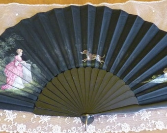 "Fan ""The Love Letter"", antique fan, victorian fan, ca. 1887"