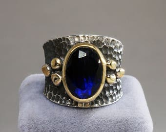 Handmade Sapphire Stone Authentic Aged Oxidized 925 Sterling Silver Ladies Ring Size Adjustable