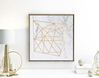 Real Foil Print / Square 20x20cm or 30x30cm / Geometric / Copper Foil / Gold Foil / Marble Print / Wall Art / Foil Print / Rose Gold