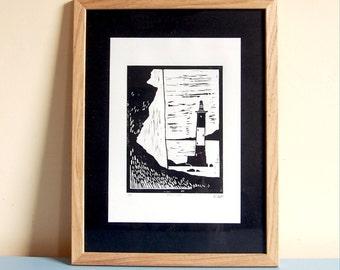 Beachy Head - Limited Edition Linocut Print - 210mm x 297mm