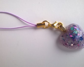 Purple resin glitter heart phone charm/bag charm/zipper charm