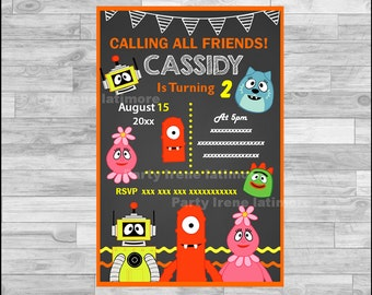 Yo Gabba Gabba Invitation, Yo Gabba Gabba Chalkboard Invitation, Yo Gabba Gabba Party Invitation Digital file