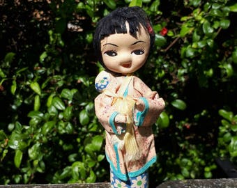 Vintage Japanese Pose Doll Traditional Dress with Baby