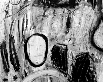 Original Abstract Art on Paper, home decor, black and white