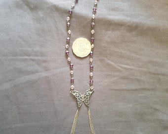 Silver Butterfly beaded necklace