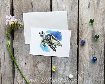 Watercolor Turtle Postcard Set of 3