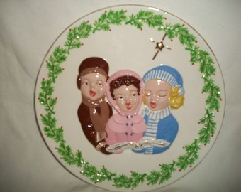 Vintage Ceramic Hand Painted Christmas Plate Decor