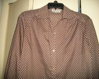 Vintage Brown, White Polka Dot Blouse, Secretary Blouse, Size M