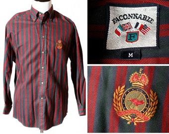 Vintage Men's Faconnable Shirt - 90's Retro Medium M Button Down Stripe