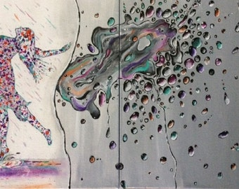 Dancing In The Rain Acrylic Painting-Splashing Water-Raindrops-Abstract