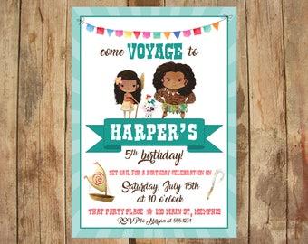 Moana Party Invitation - 5x7 DIGITAL FILE - Personalized Printable - Watercolor, Moana, Maui, Voyage Birthday Party