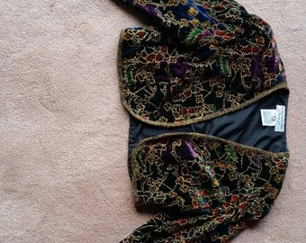 Vintage Velvet Beaded Jacket - Papell Boutique - Small