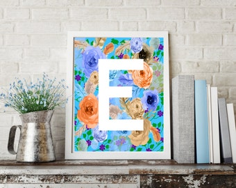 Letter E Monogram Art  / Letter E Art, Letter Wall Decor, Flower letter art, Digital letter download, Digital Monogram