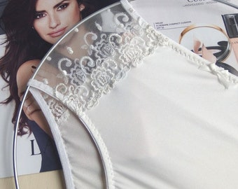 Off white panties/ high waisted panties/ lace panties/ gift for her/ luxury lingerie/.