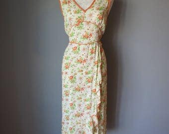 Vintage 1970's Yellow & Orange Floral Dress