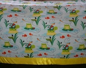 Turtles and Frogs Baby/Crib/Tummy Time Blanket - Soft Flannel ~45x45 with Satin Border
