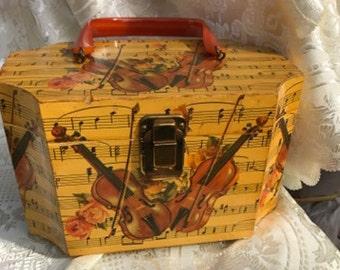 60s Vintage Novelty  Decoupage Octagonal Wooden Handbag