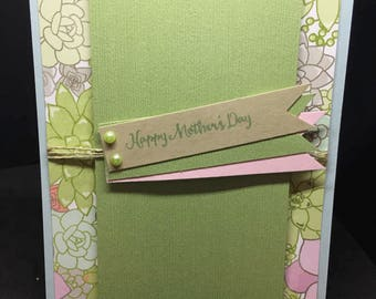Mother's Day Card, Happy Mother's Day, Handmade Card, Floral Card, Green, Stampin' Up! Designs